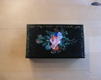Handpainted large vintage metal matchbox cover