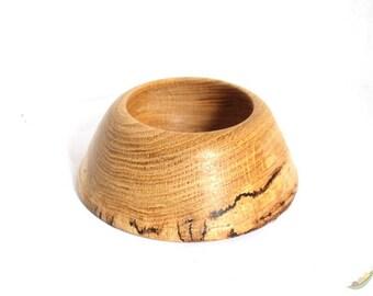 Spalted Oak Wood Turned Dog Bowl