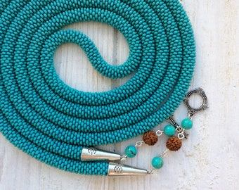 Turuiose Blue Crochet Bead Rope Necklace, Long Czech Seed Bead Knitted Transformer Lariat