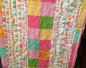 Pink and Hearts Baby Quilt