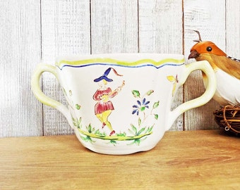 Vintage Longchamp Moustiers Sugar Bowl Hand Painted France Faience Signed with Old Mark