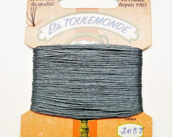 "Cotton embroidery thread ""Retors du Nord"" number 2037, ash gray, 20 meters"