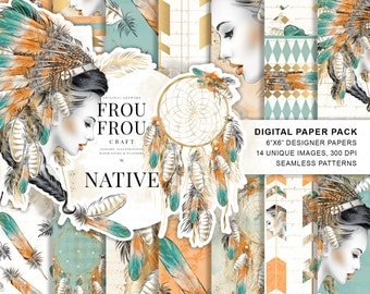 Tribal Paper Pack Native American Digital Backgrounds Dreamcatcher Seamless Patterns Feathers Print Textile Boho Girl Planner Supplies