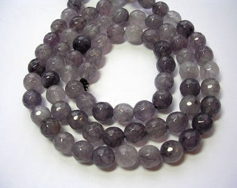 8mm Grey Agate Faceted Gemstones 8mm Light Gray Gemstones 15 inch strand Agate 47 Beads Agate Jewelry Grey Matters Shades of Grey