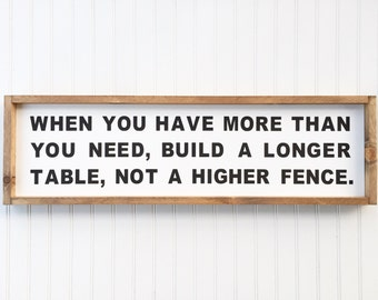 When You Have More Than You Need Framed Wood Sign, Build a Longer Table Home Decor, Inspirational Custom Wall Art, Words to Live By