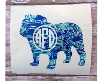 Lilly Pulitzer Bulldog Monogram decal /  Bulldog Monogram Car decal / Yeti decal / Laptop decal / Tumbler Decal