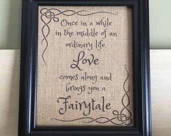 Burlap print, Housewarming gift, Family wall art, Love Print, Fairytale, Burlap wall art
