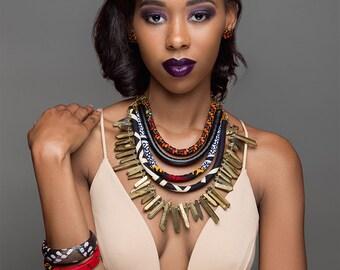 Ankara, Vegan Leather & Gold Quartz Statement Necklace - African Statement Jewelry