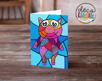 Pig greeting card, anniversary card, pig, birthday card, children card, children birthday, art card, pig lover, greeting card, pig patchwork
