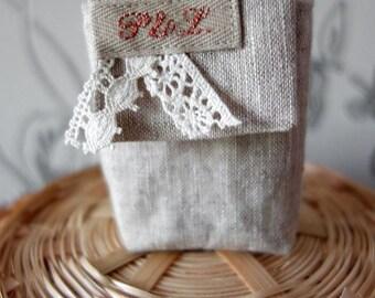 linen handkerchief case