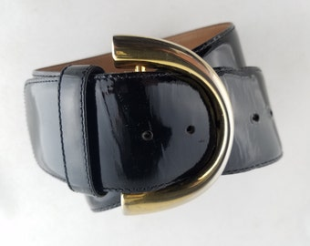 Nordstrom Black Patent Leather Women's Belt, Vintage, Small