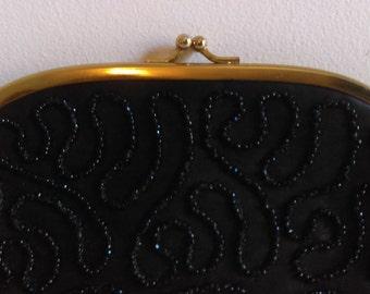 Vintage Black Beaded Evening Bag.