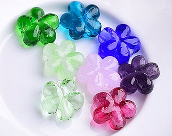 Lamp work 14x5mm Bueaty Flower Glaze Bead Glass Beads Lucky Bead Design Charm Bracelet Handmade Beads DIY bracelets Bead Supply