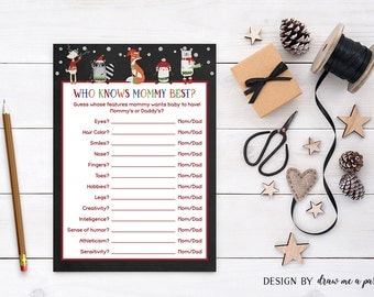 Winter Woodland Baby Shower Game , Who Knows Mommy Best , Woodland Creatures , Forest Baby Shower Game , Printable , Instant Download