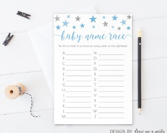 Blue Baby Shower Game ,Baby name Race , Twinkle Little Star Baby Shower , Boy Baby Wishes , Blue and Silver Baby Shower , Printable