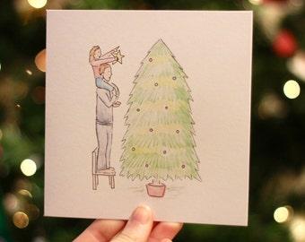 Christmas Tree Child - Illustrated Christmas Card