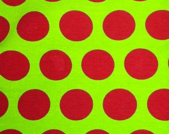 Knit Red and Lime Green Dots Fabric 1 yard
