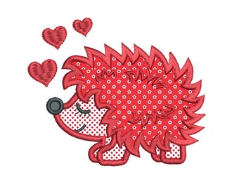 Valentine's Day Hedgehog Applique Machine Embroidery Design, Instant Download, Cute Hedgehog, Sweet Hedgehog Design no: SA554-1