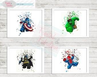 Superhero Lego Prints, Pixel Superheros, LEGO Prints