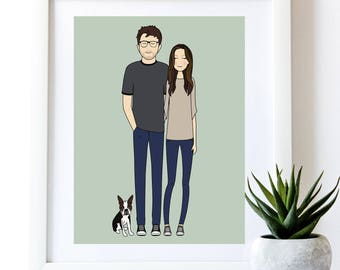Custom Portrait, custom family portrait, personalized family portrait, custom drawing, anniversary, gift, Illustration