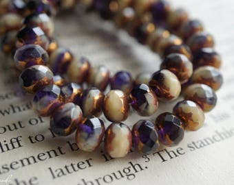 Royally Ivory, Rondelle Beads, Czech Beads, Beads, N2284
