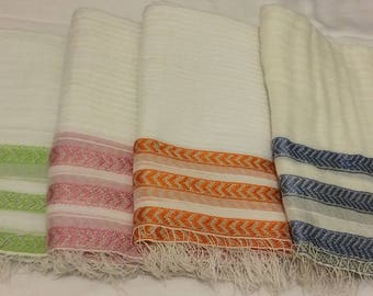 Ethiopian 100% Handwoven Sheer White Cotton Shawl with Triple Arrow and Silver Stripes