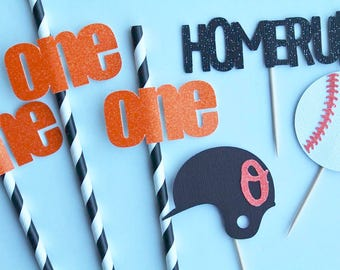 Baseball Birthday Straws | Opening Day Decor