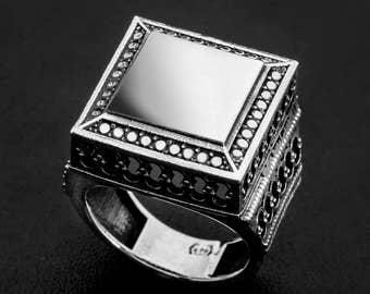Statement-Sterling silver big statement ring-Mens Texture signet ring-Power ring-Big Signet ring-Vintage silver ring-Vintage signet ring