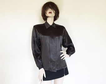 80s Paula Saker Black Satin Disco Blouse
