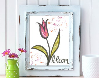 Bloom Art Print. Watercolor Tulip Art Print. Home Decor. 8x10 Wall Art. Mother's Day Gift. Gift for Mom. Gift for Her. Nursery Wall Decor.