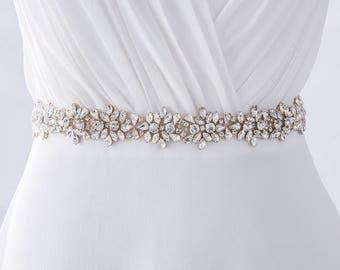Crystal Bridal Sash Belt, Wedding Belt, Rhinestone Bridal Sash, Beaded Bridal Belt, Wedding Dress Belt, Ivory Bridal Sash Belt