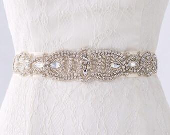 Wedding Belt, Wedding Dress Sash Belt, Bridal Belt, Bridal Sash, Rhinestone Bridal Belt, Beaded Wedding Belt, Champagne Wedding Belt