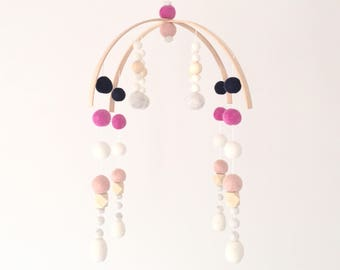 Mobile No. 6 \\ Deluxe Modern Baby Mobile - Navy, magneta, dusty pink girl mobile