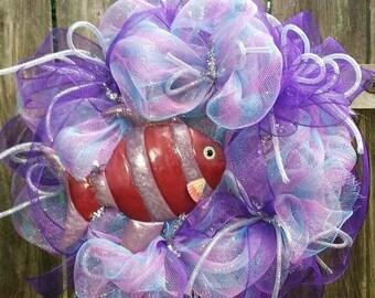 On Sale, Fish wreath, Beach wreath, Summer wreath, tropical wreath, island wreath, wreath with fish, tropical decor, whimsical wreath