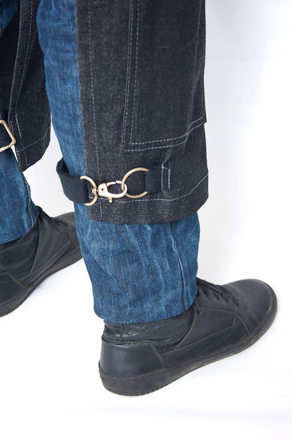 Full split leg apron coal black denim leather
