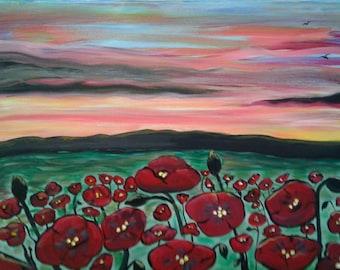 Original 16x20 acrylic painting on canvas, poppy field at sunset