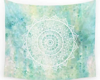 Mandala Tapestry, Aqua, Blue, Yellow, Turquoise Tapestry, Wall Tapestry, Wall Hanging Bohemian Tapestries Boho Decor Bedspread Sofa Throw