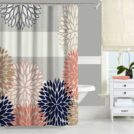 Dahlia Shower Curtain Navy Blue Pink Gray Shower Curtain
