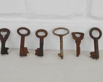 Vintage Skeleton Keys, Antique keys, rustic keys, metal keys