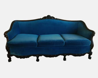 antique victorian mahogany blue velvet couch french style upholstered velvet couch vintage clawfoot blue velvet sofa