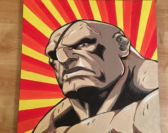 Sagat from Street Fighter hand painted in oils on canvas ***Reduced to clear****