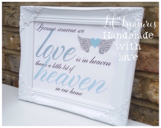 Someone we love in heaven quote framed  print with crystal wings | Sparkle | Lost loved one | ShabbyChic | diamanté wings.