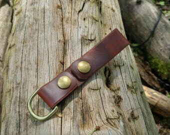 Handmade  Leather Dangler  in Reddish Brown with Brass D Ring and 2 Snaps for your Gear