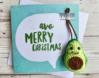 Avocado Crochet Christmas Card - Amigurumi Avocado - Vegan Christmas Card  - Avocado Tree Ornament - Vegan Christmas  Tree Decoration