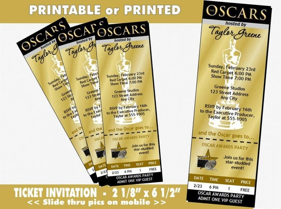 oscar awards party golden ticket invitation printable with