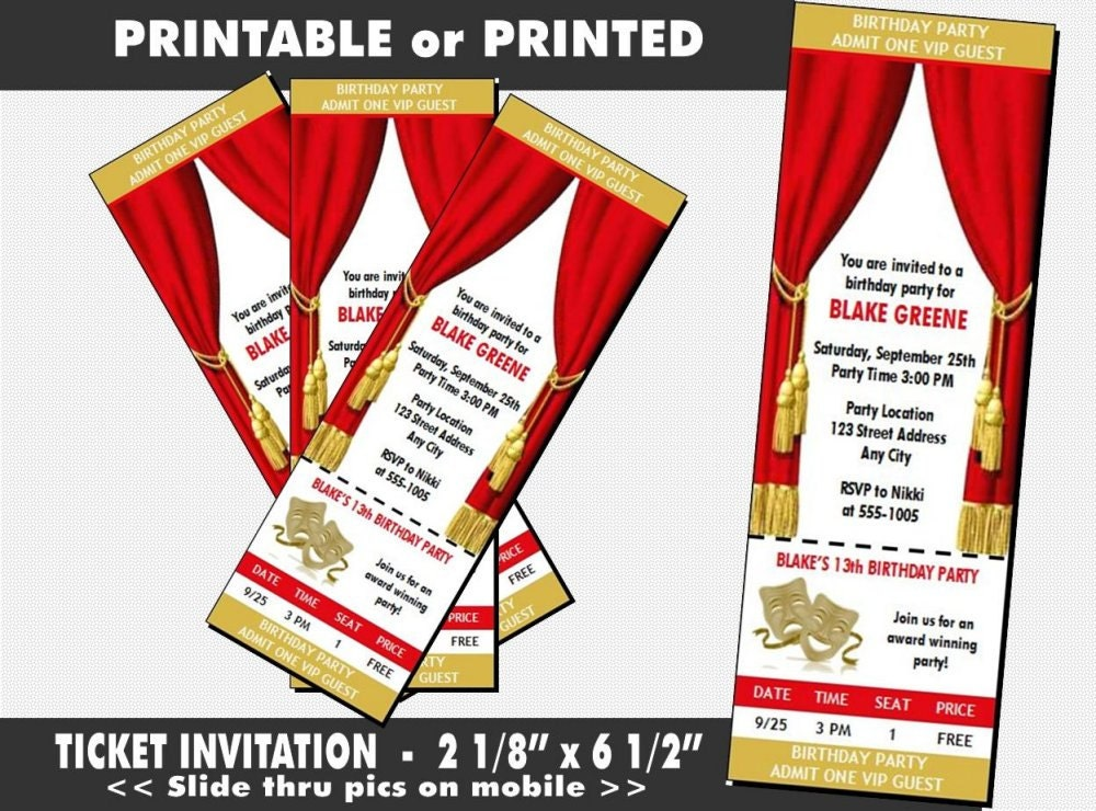 theatre acting ticket invitation printable with printed