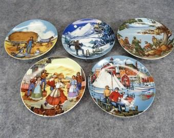 "Avon American Portraits Plates 4 1/4"" Coasters X 5 By Don W. Sheffler 1985"