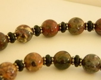 Round Glass Beaded Green Brown Rust Variegated Necklace