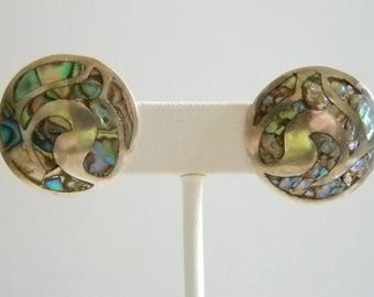 925 Sterling Mexico Taxco Round Abalone Inlay Screw Back Earrings