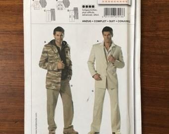Mens Leisure Suit Cargo Pants Jacket Size 34-50 Burda Sewing Pattern 7918 Groovy Baby!!